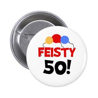 Feisty 50 6 cm round badge