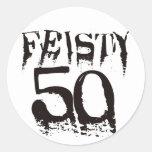 Feisty 50 classic round sticker