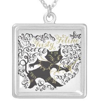 Feisty Feline Square Pendant Necklace