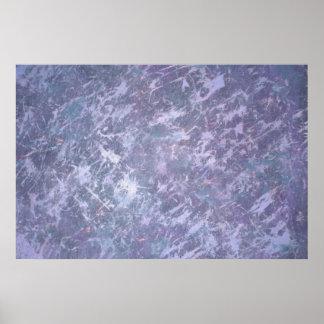 Feisty Metallic Purple Abstract Splatter Funky Fun Poster