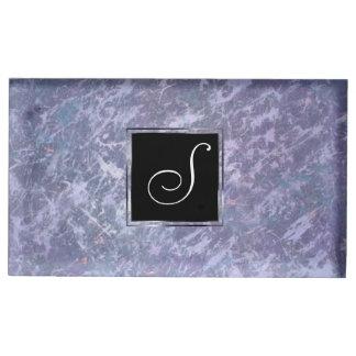 Feisty Party   Monogram Lavender Purple Splatter   Table Card Holder