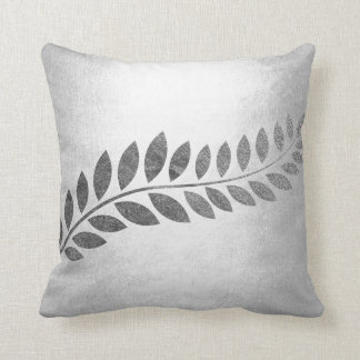 Felice Leaf Silver Floral Botanical Gray Monochrom Cushion