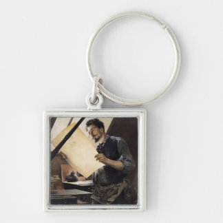 Felicien Rops  in his studio Silver-Colored Square Key Ring
