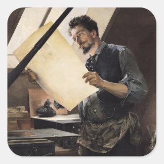 Felicien Rops  in his studio Square Sticker