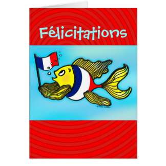 FÉLICITATIONS French Flag Fish funny greeting card