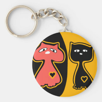 Felid friends3 basic round button key ring