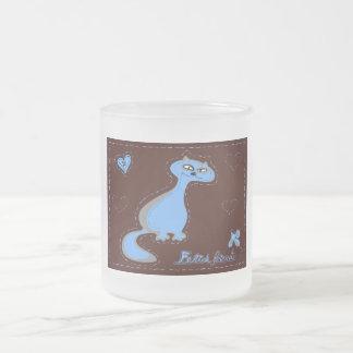 Felid friends frosted glass mug