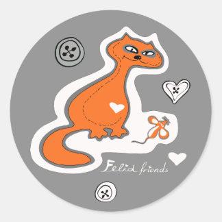 Felid friends round sticker