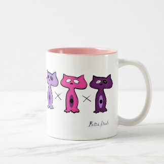 Felid Friends Two-Tone Coffee Mug
