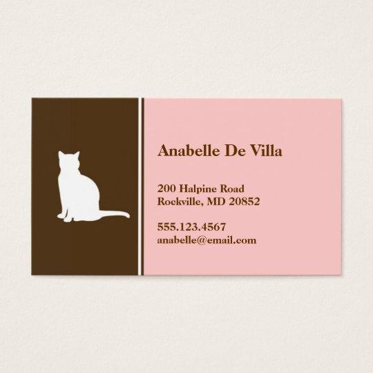 Feline cat pink brown pet personal calling card