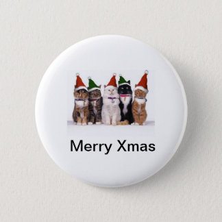 Feline Christmas 6 Cm Round Badge