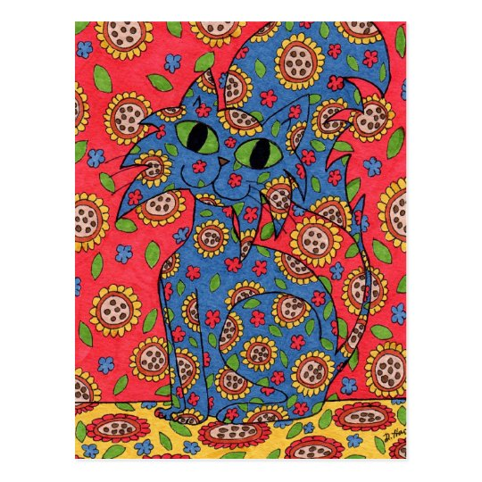 Feline Flower Frenzy Postcard