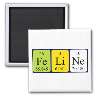 Feline periodic table name magnet