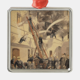 Felix Faure  with the firemen Silver-Colored Square Decoration