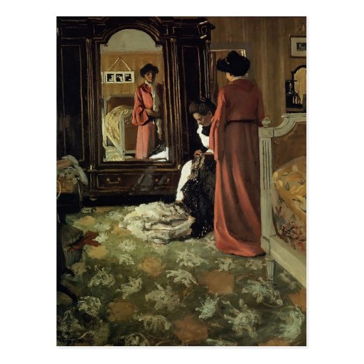 Felix Vallotton -Interior,Bedroom with Two Figures Post Card