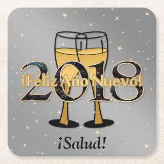 ¡Feliz Año Nuevo! 2018 Silver Gold Champagne Stars Square Paper Coaster
