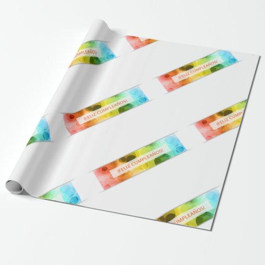 feliz cumpleanos bokeh lights wrapping paper