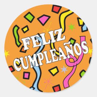 Feliz Cumpleanos Happy Birthday in Spanish Round Sticker