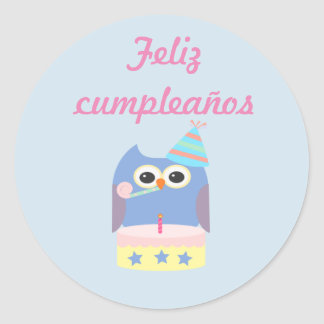 """Feliz cumpleaños"" ""Happy Birthday"" owl sticker"
