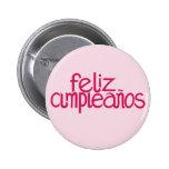 Feliz Cumpleaños hot pink Button