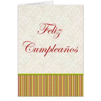 Feliz Cumpleaños Spanish Birthday floral stripes Card