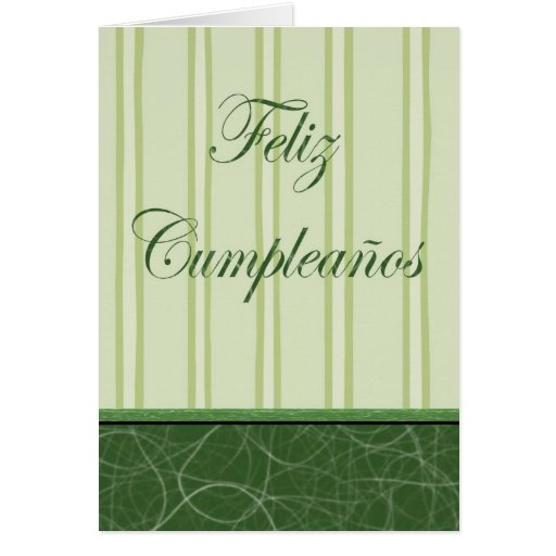 Feliz Cumpleaños Spanish Birthday green stripes Greeting Cards