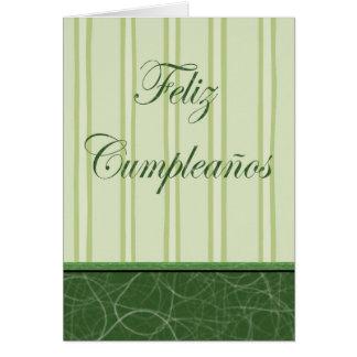 Feliz Cumpleaños Spanish Birthday green stripes Greeting Card