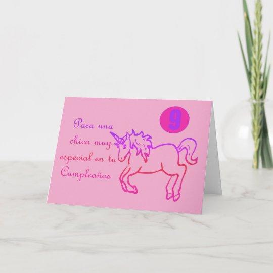 Feliz Cumpleanos Spanish Birthday Unicorn 9 Nine Card