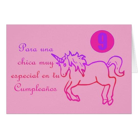 Feliz Cumpleaños Spanish Birthday unicorn 9 nine Card