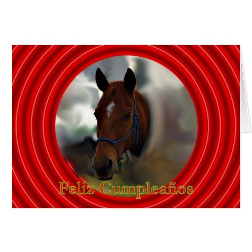 Feliz Cumpleaños Spanish Birthday with horse Greeting Cards