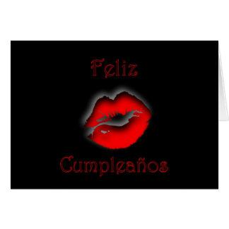 Feliz Cumpleaños Spanish Birthday with kissing lip Card