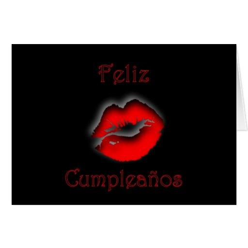 Feliz Cumpleaños Spanish Birthday with kissing lip Greeting Cards