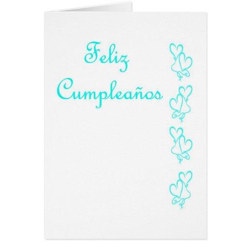 Feliz Cumpleaños Spanish Birthday with love hearts Cards