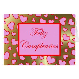 Feliz Cumpleaños Spanish Birthday with love hearts Greeting Card