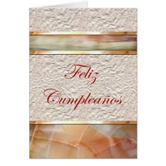Feliz Cumpleaños Spanish Birthday with marble Greeting Card