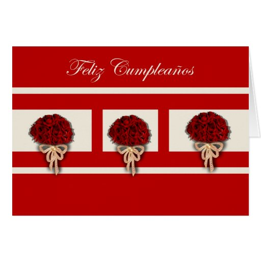 Feliz Cumpleaños Spanish Birthday with rose flower Cards