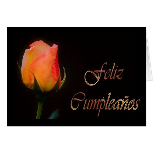 Feliz Cumpleaños Spanish Birthday with rose flower Greeting Card