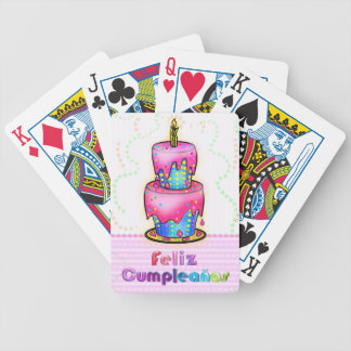 Feliz cumpleaños Spanish fun Birthday Cake gift Bicycle Playing Cards