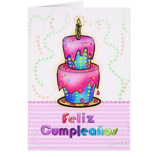 Feliz cumpleaños Spanish fun Birthday Cake pink Greeting Cards