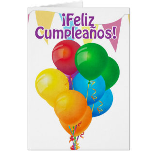 ¡Feliz Cumpleaños with balloons and bunting Greeting Card