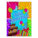 ¡Feliz Cumpleaños with fun colors balloons stream Greeting Card