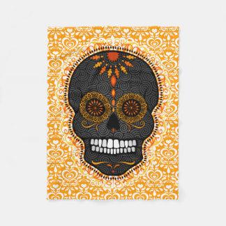 Feliz Muertos - Festive Sugar Skull Pattern Fleece Blanket