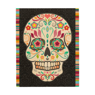 Feliz Muertos - Festive Sugar Skull & Stripes Wood Print