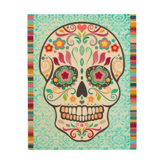 Feliz Muertos - Festive Sugar Skull & Stripes Wood Wall Decor