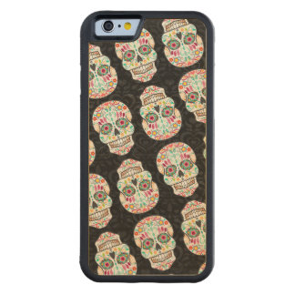 Feliz Muertos Festive Sugar Skulls Wood Phone Case