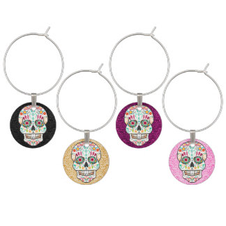 Feliz Muertos - Happy Sugar Skull Wine Charms