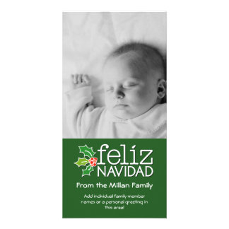 Feliz Navidad - 1 vertical photo Customized Photo Card