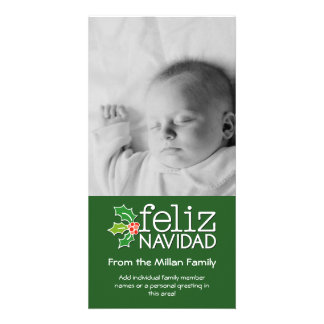 Feliz Navidad - 1 vertical photo Personalized Photo Card