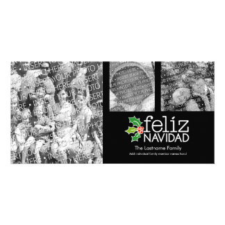 Feliz Navidad - 3 photo collage Personalised Photo Card