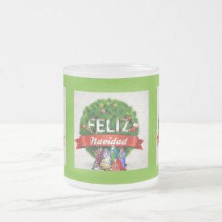 Feliz Navidad! Apple Green Frosted Glass Coffee Mug